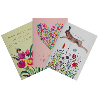 Trio of quaint country A7 Notebooks, in floral bee, floral heart, and hare designs.