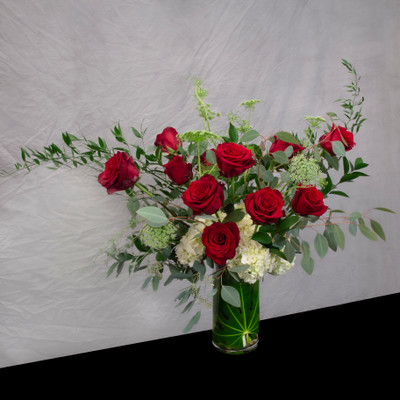 Dozen red roses, seattle flower delivery, foliage, hydrangea