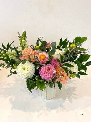 Chic and Subtle Beautiful array of pink, blush, white and fresh greenery. Seattle flower delivery by Juniper Flowers