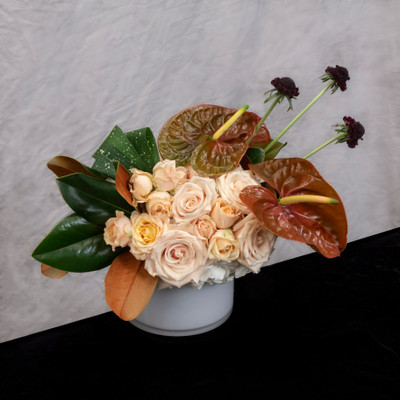 Coffee and Cream white blush beige and chocolate flowers