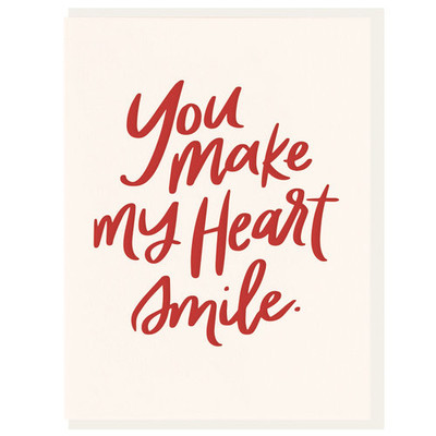"Valentine's Day ""You Make My Heart Smile"" Letterpress Card"