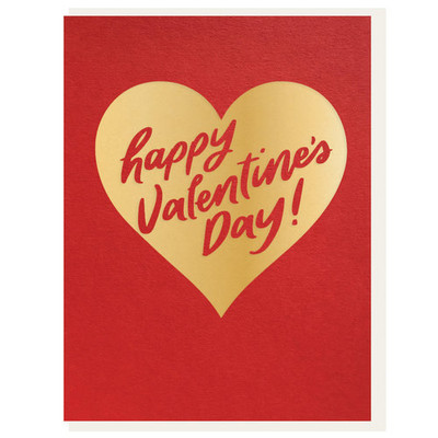 Happy Valentine's Day in a Gold Heart Letterpress Card