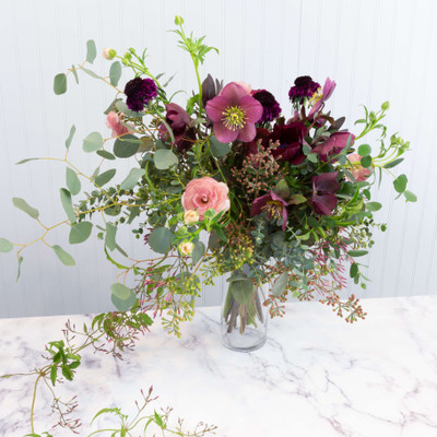 hand tied wedding bouquet in bordeaux, dusty rose and green, wild, natural, wispy