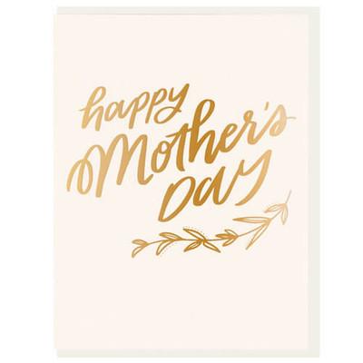 Happy Mother's Day gold foil letterpress card