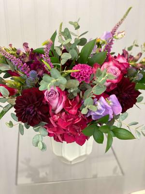 raspberry plum fuchsia greens stylish floral in geo vase