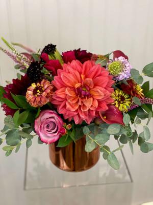 dahlias coral salmon burgundy merlot copper pot floral high end summer flowers