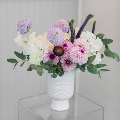fluffy fluttery dahlias hydrangea scabiosa foliage lavender