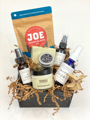 Overnight Essentials gift crate chocolate candle hydrosol hand sanitizer insect repellant handmade soap dream balm