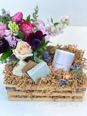 Essentials Gift Crate with desktop floral, handmade soap bars, fragrant candle and dried flower blooms for Seattle flower delivery by Juniper Flowers