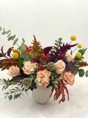 ceramic vase lush amber tones autumn colors amaranth celosia roses gold peach beige yellow burgundy