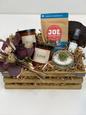 foggy morning gift crate candles plant chocolates dried flowers hand sanitizer dried flowers seattle flower delivery