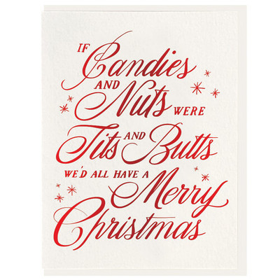 Letterpress Card Candles & Nuts