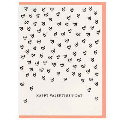 Happy Valentine's Day falling hearts letterpress card
