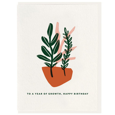 To a year of Growth, Happy Birthday Letterpress Card