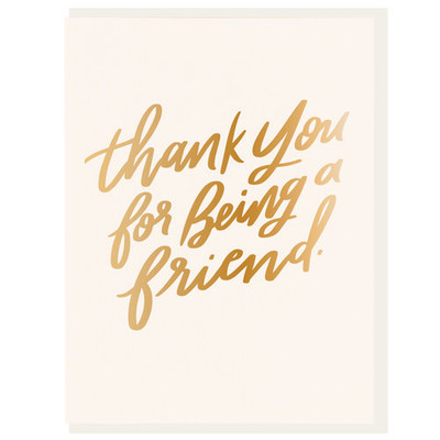 Thank You for Being a Friend Letterpress Card