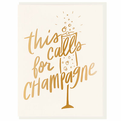 This Calls for Champagne Letterpress Card