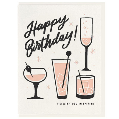 Happy Birthday, I'm with you in Spirits Letterpress Card