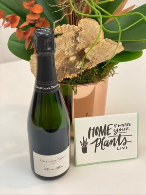 Orchid Aperitif An easy package deal : beautiful long lasting orchid plant, bottle of your choice and a letterpress card. Ideas for this gift would be housewarming, birthday, congratulations, anniversary or simply thinking of you.Seattle flower delivery from Juniper Flowers