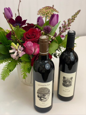 Add a bevy to your floral with this option. We've got a lovely selection of wine and champagne that would pair well with a surprise floral gift! Seattle flower delivery by Juniper Flowers
