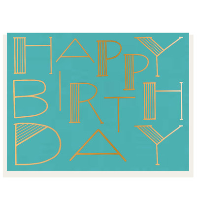 HAPPY BIRTHDAY Blue with Gold Foil Letterpress Card