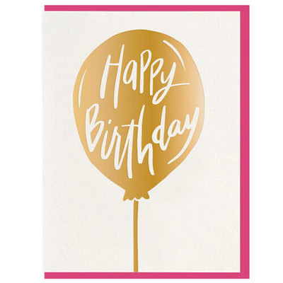 Happy Birthday in Gold Foil Balloon Letterpress Card