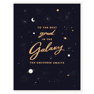 To the Best grad in the Galaxy Letterpress card
