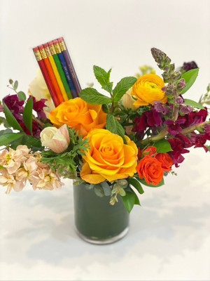Pride Floral We'll take a rainbow assortment of colors similar to this and dazzle you with flowers! We are donating 10% of all Pride Floral sales in the month of June to Lambert House; a non-profit organization that empowers lesbian, gay, bisexual, transgender, and questioning youth through the development of leadership, social, and life skills. Take note: these come with pencils that say LOVE IS LOVE! Seattle flower delivery by Juniper Flowers