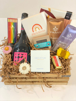 """Back to School Gift Crate Kids go back to school - you get your life back! Indulge with wine and chocolates, a scented candle and there's also a cool writing pad and """"love is love"""" pencils for the kids. Choose the best bottle of wine or champagne for your occasion! (Pictured in this crate is Lucchetti, a delicious sparkling rosé)Seattle Flower and gift crate delivery by Juniper Flowers"""