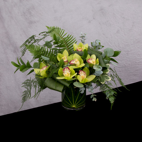 Emerald Green various greenery foliage green orchids for seattle flower delivery by Juniper Flowers