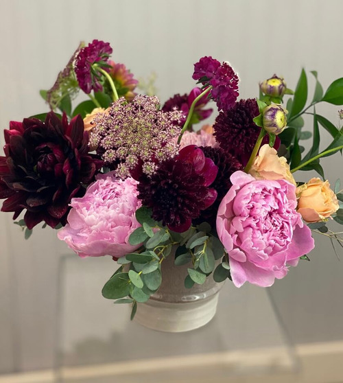 Double Date peonies and dahlias local summer flowers