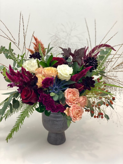 textures dark vase burgundy tones navy berry grass chocolate hinted with blush peach