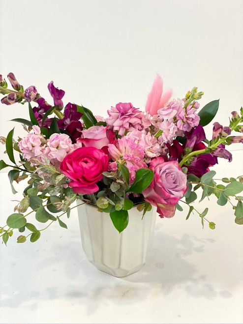 """Light pink, blush, medium pink, baby pink, hot pink, fuchsia, raspberry, cherry...""""lets get our warm pastel colors on"""" We'll choose all the best shades for this beauty that warms the heart and makes you want to eat its color of sorbet! An invigorating floral for any occasion! Seattle flower delivery by Juniper Flowers"""