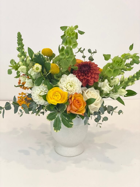Citrus Summer Tangy orange, apricot, yellows and vibrant greens make for a wonderful summery touch of citrus infused color! Take this baby out on the patio, boat or to a friend's house for lunch! Seattle flower delivery by Juniper Flowers