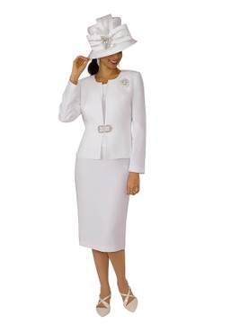 3052 Three PC POLY CREPE SKIRT SUIT by LILY AND TAYLOR