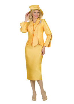 4343-3PC SILKY TWILL SKIRT SUIT