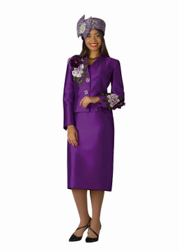4122-3PC SILKY TWILL SKIRT SUIT W/EMBROIDERY TRIM