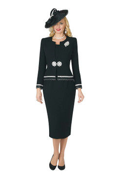 4272-3PC FRENCH CREPE SKIRT SUIT W/RHINESTONES
