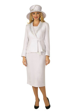 4303-3PC FRENCH CREPE SKIRT SUIT W/RHINESTONES