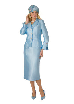 4096-2PC SILKY TWILL SKIRT SUIT