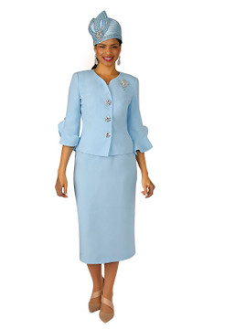 4294-2PC FRENCH CREPE SKIRT SUIT