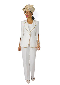 4372-3PC FRENCH CREPE PANT SUIT W/BEADED TRIM