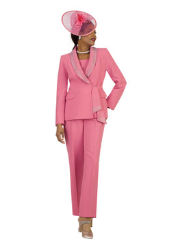 4373-3PC FRENCH CREPE PANT SUIT W/RHINESTONES