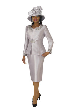 3800-3PC SILKY TWILL SKIRT SUIT W/RHINESTONES