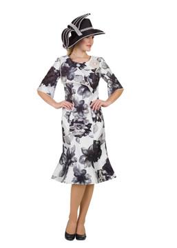4521 Elegant Pearl Trim Silky Twill Dress