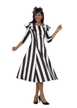 4512 Fabulous Black/Ivory Strip Ponte Knit Dress