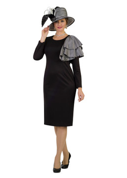 4390 Alluring Ponte Knit Dress with Strip Lapel design on shoulder