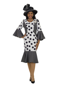 4551 Appealing Ponte Knit Polka dots/ Strip Design dress