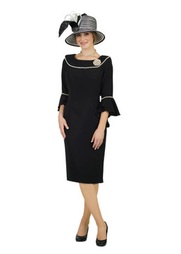 4481 Appealing French Crepe dress with pearl trim design