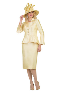 4417 Classy Silky Twill Three Piece Skirt Suit