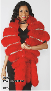 A900 Genuine Fox Rhinestone Double Tail Shrug